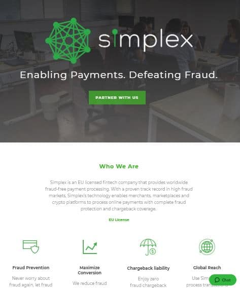 screenshot of Simplex's website