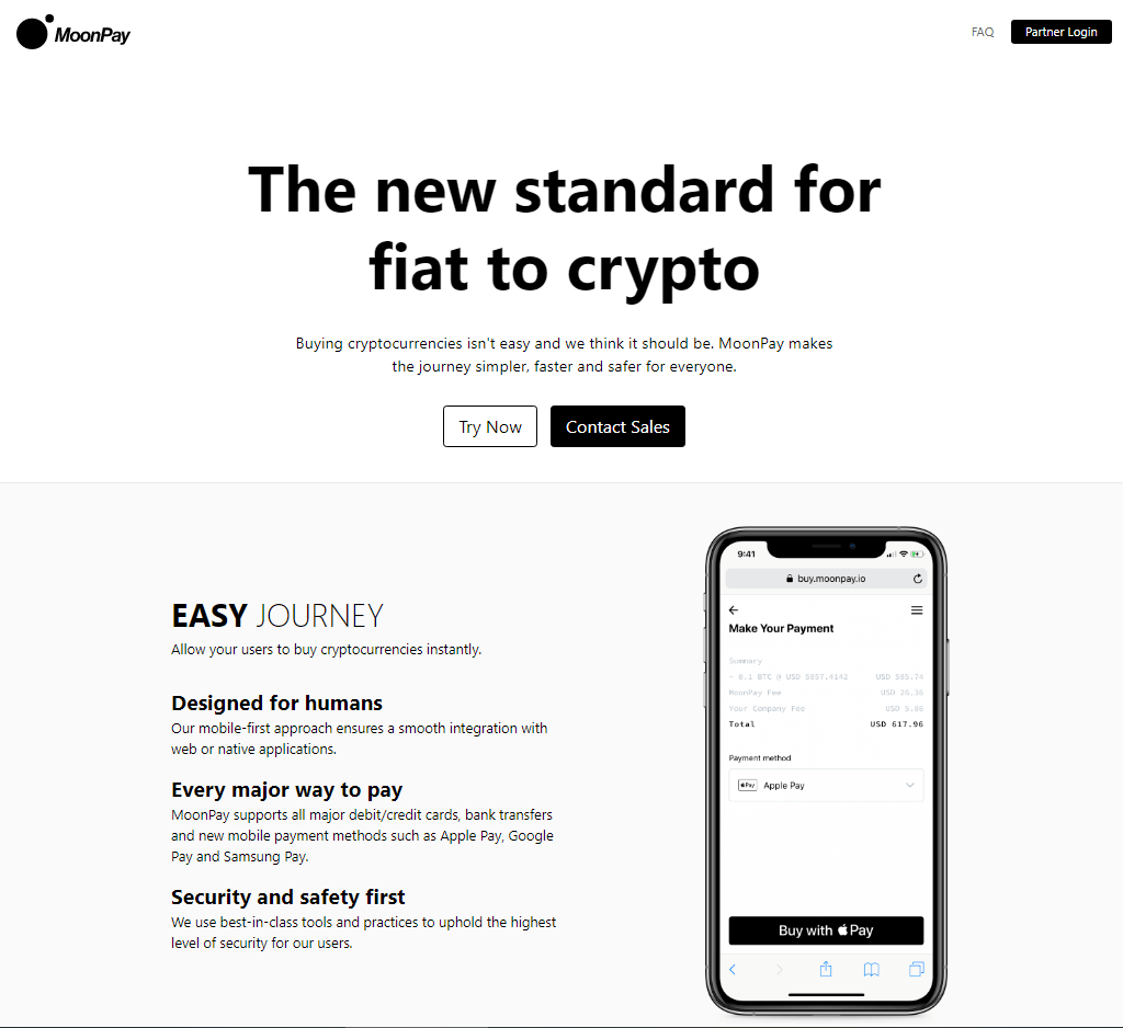 screenshot of moonpay homepage