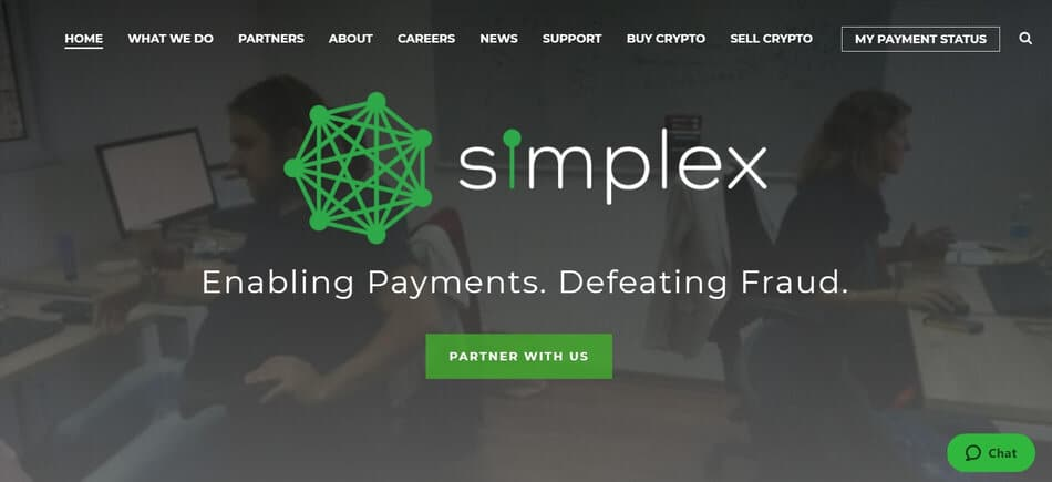 a screenshot of Simplex's home page to give an impression of the company for the simplex review